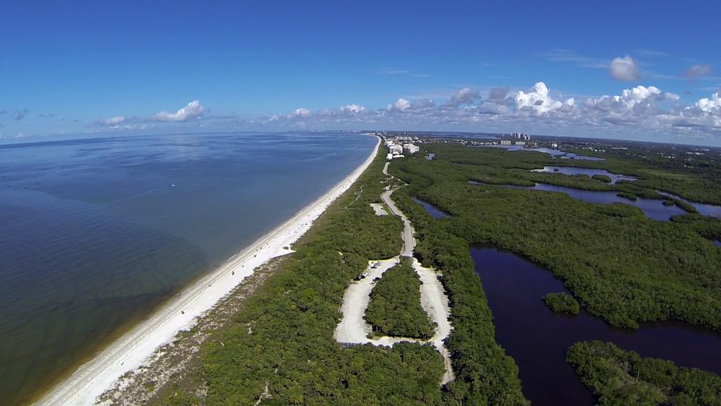 aerial view barefott beach county park naples fl