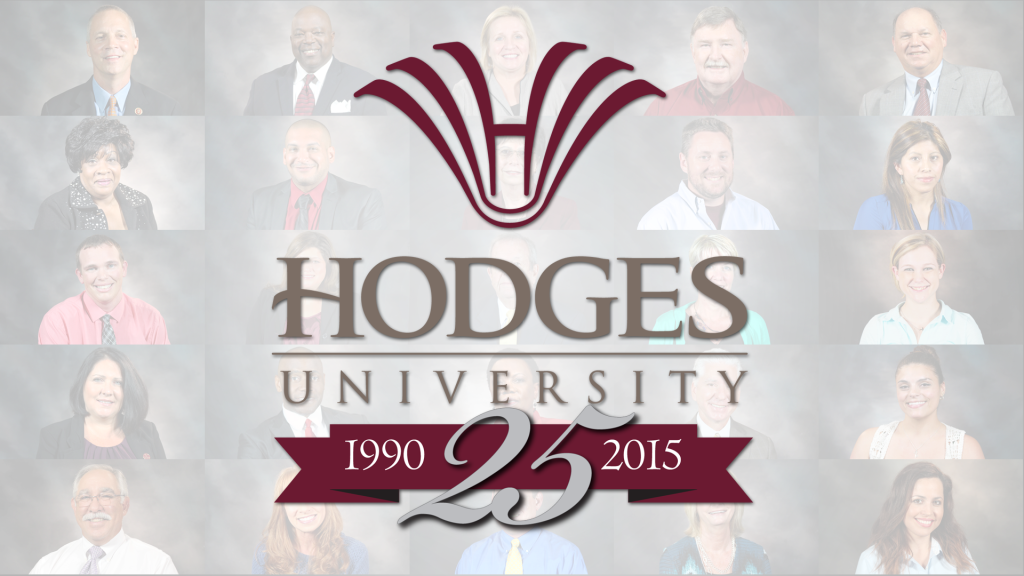 Hodges University 25th anniversary logo