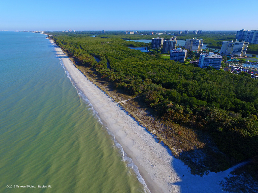 Aerial  view of the beach at Delnor-Wiggins Pass State Park in Naples, FL
