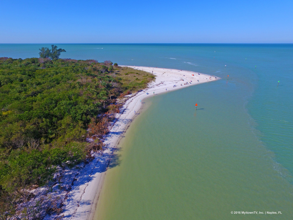 Aerial  view of Wiggins Pass in Naples, FL