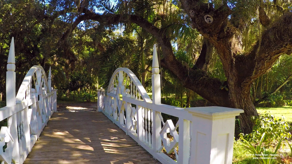 The white bridge at Koreshan State Historic Site in Estero, FL
