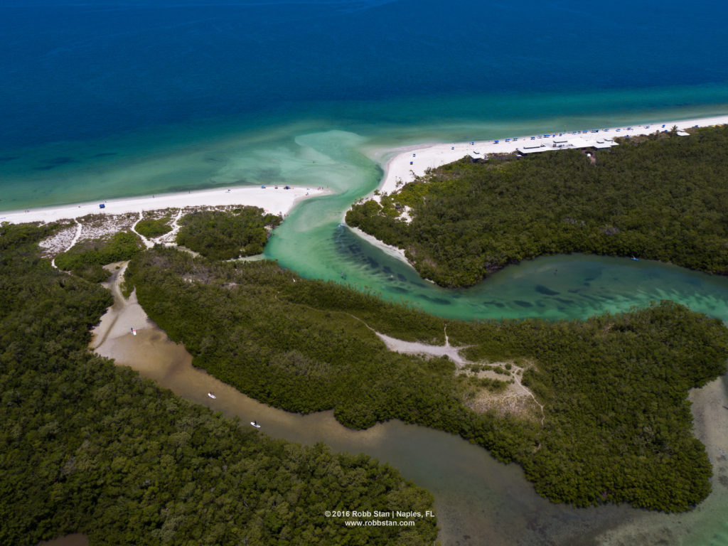 Aerial photo of Clam Pass Beach Park in Naples, FL